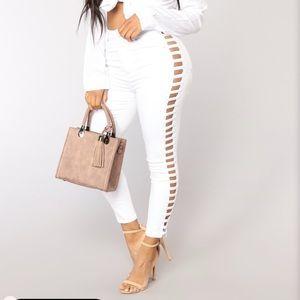White Slit Side Jeans